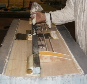Fig. 3. Glueing together the main wing section.